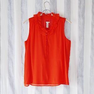J. Crew Bright Orange Sleeveless Ruffle Collar Top